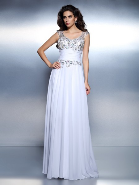 A-Line Scoop Beading Rhinestone Sweep/Brush Train Chiffon Formal Dress