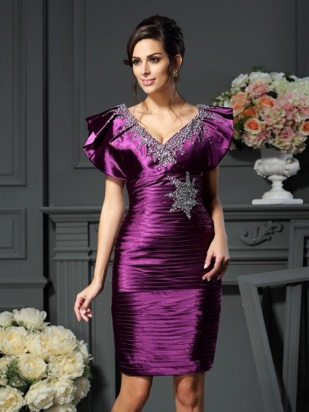 Sheath/Column V-neck Beading Short Elastic Woven Satin Mother of the Bride Dress