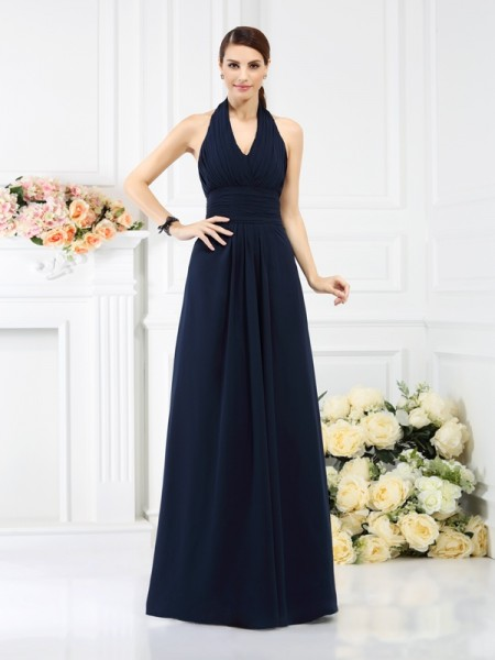 A-Line/Princess Halter Pleats Bridesmaid Dress with Long Chiffon