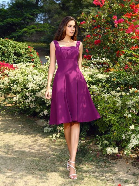 A-Line/Princess Square Short Chiffon Bridesmaid Dress