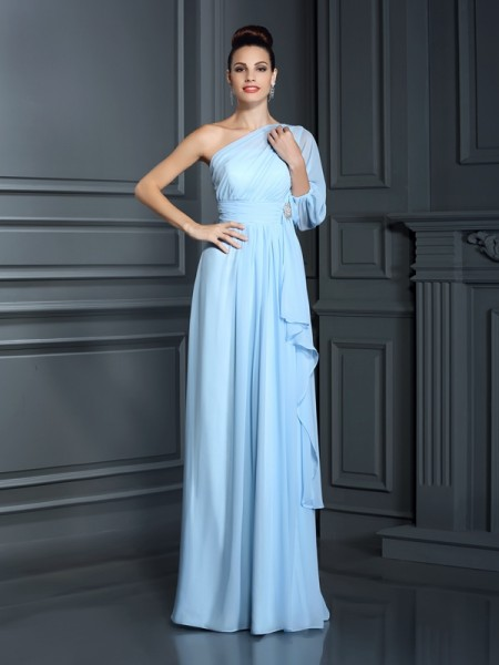 Sheath/Column One-Shoulder Bridesmaid Dress with Long Chiffon