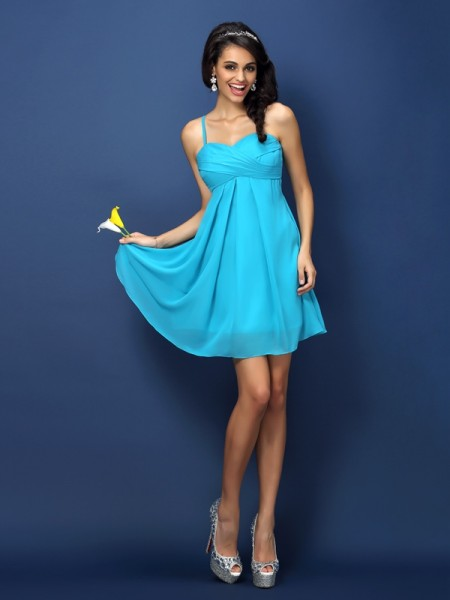 A-Line/Princess Spaghetti Straps Pleats Short Chiffon Bridesmaid Dress