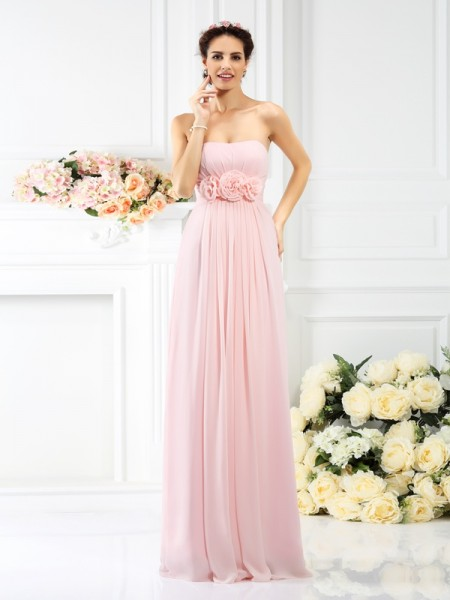 A-Line/Princess Strapless Bridesmaid Dress with Long Chiffon