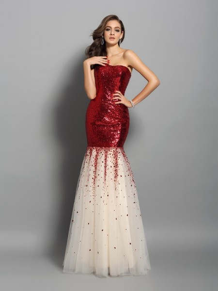 Trumpet/Mermaid One-Shoulder Long Sequins Dress