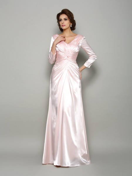 A-Line/Princess V-neck Ruched Long Sleeves Long Silk like Satin Mother of the Bride Dress