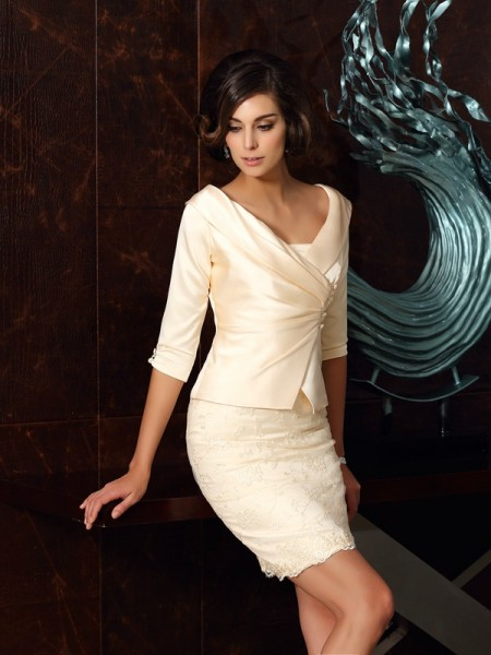 Sheath/Column Strapless Applique Short Satin Mother of the Bride Dress