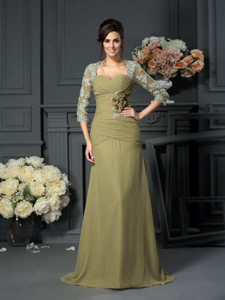 A-Line/Princess Sweetheart 1/2 Sleeves Mother of the Bride Dress with Long Chiffon