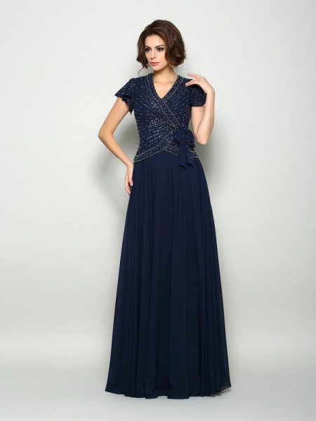 A-Line/Princess V-neck Beading Short Sleeves Mother of the Bride Dress with Long Chiffon