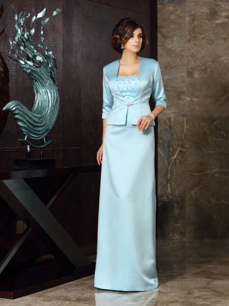 Sheath/Column Strapless Long Satin Mother of the Bride Dress
