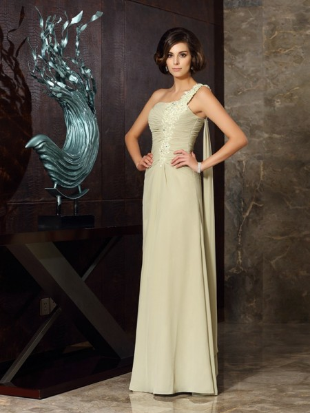A-Line/Princess One-Shoulder Applique Mother of the Bride Dress with Long Chiffon