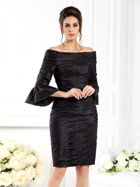 Sheath/Column Ruched 1/2 Sleeves Short Taffeta Mother of the Bride Dress