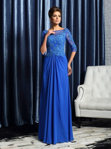 A-Line/Princess Bateau Beading 1/2 Sleeves Mother of the Bride Dress with Long Chiffon