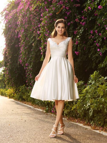 A-Line V-neck Satin Knee-Length Bridal Gown
