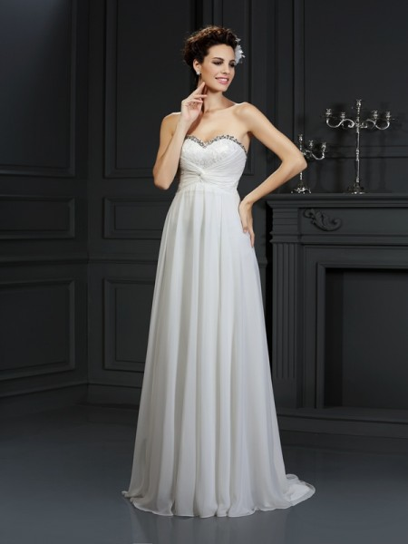 A-Line/Princess Sweetheart Ruffles Wedding Dress with Long Chiffon