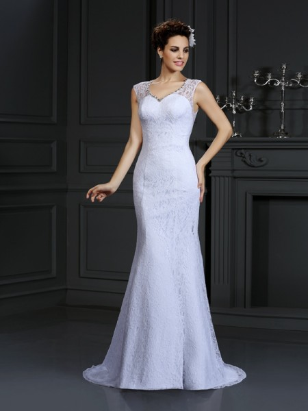 Sheath/Column V-neck Lace Long Satin Wedding Dress