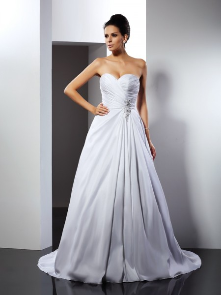 A-Line Sweetheart Ruffles Court Train Satin Dresses For Brides