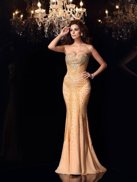 Trumpet/Mermaid Sweetheart Beading Dress with Long Chiffon