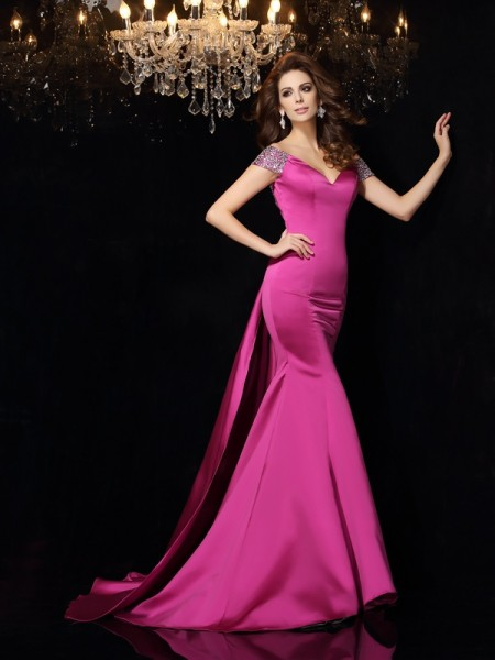Trumpet/Mermaid Beading Long Satin Dress