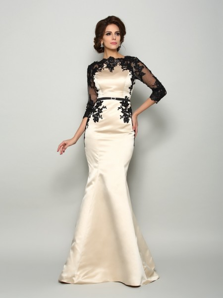 Trumpet/Mermaid Bateau Lace 1/2 Sleeves Long Satin Mother of the Bride Dress