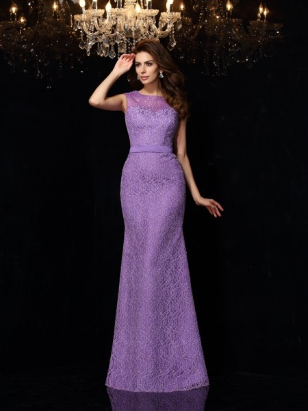 Sheath Scoop Lace Floor-Length Party Dresses