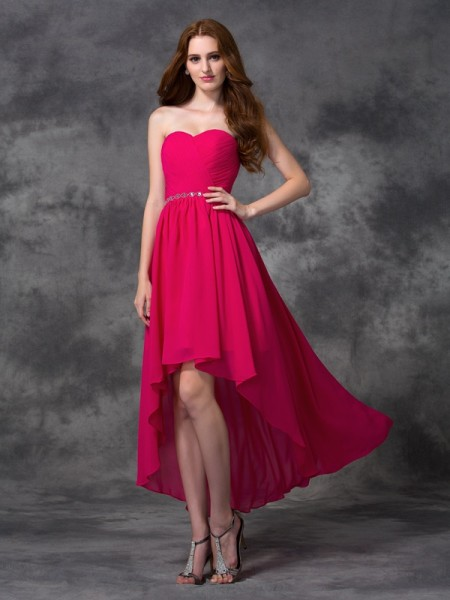 A-line/Princess Sweetheart Beading High Low Chiffon Bridesmaid Dress