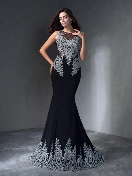 Trumpet/Mermaid Scoop Applique Dress with Long Chiffon