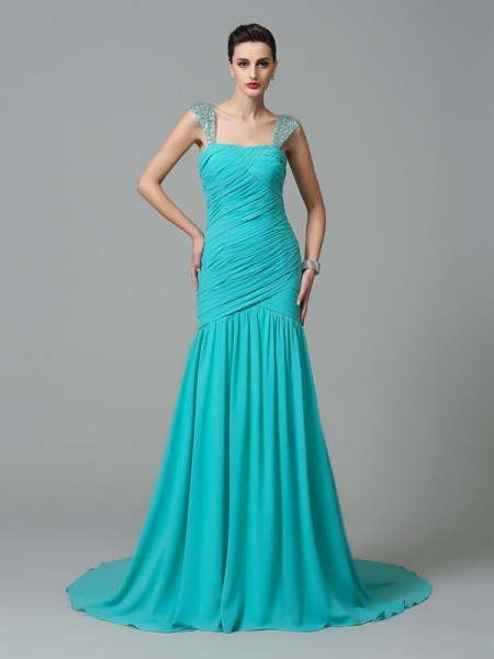 A-Line/Princess Straps Ruched Dress with Long Chiffon