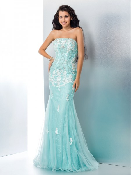 Trumpet Strapless Applique leeveless Lace Sweep/Brush Train Gown