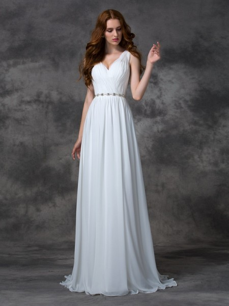 A-line/Princess V-neck Beading Chiffon Dress