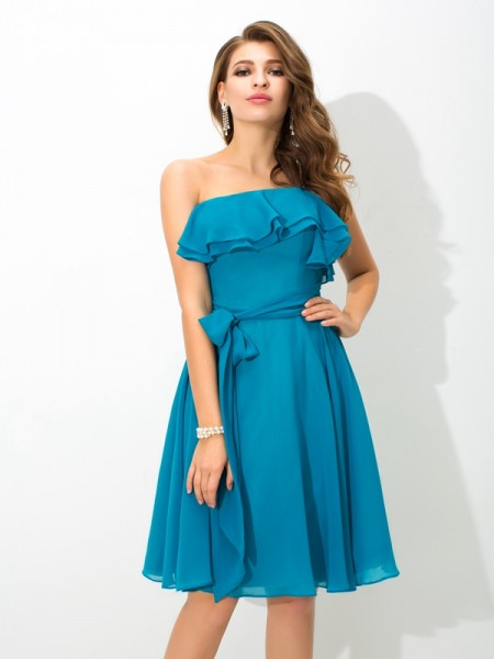 A-Line/Princess One-Shoulder Short Silk like Satin Bridesmaid Dress