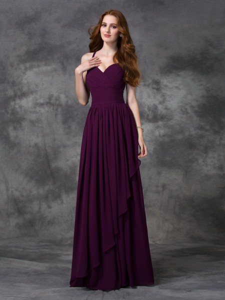 A-line/Princess Spaghetti Straps Long Ruffles Chiffon Bridesmaid Dress
