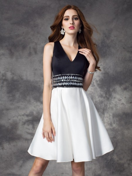 A-line/Princess V-neck Rhinestone Satin Dress