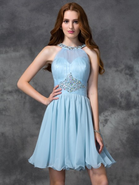 A-line/Princess Scoop Beading Short Chiffon Cocktail Dress