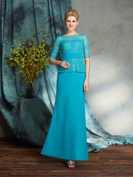Sheath/Column Bateau Applique 1/2 Sleeves Chiffon Mother of the Bride Dress