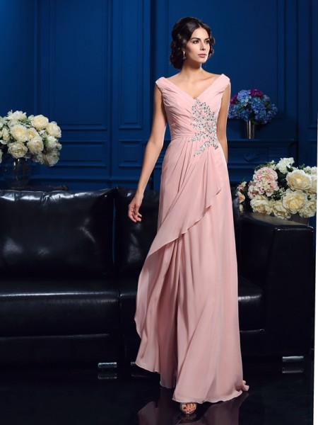 Princess V-neck Beading Sweep/Brush Train Chiffon Mother Of The Groom Dress