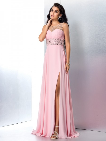A-Line/Princess Sheer Neck Beading Chiffon Dress