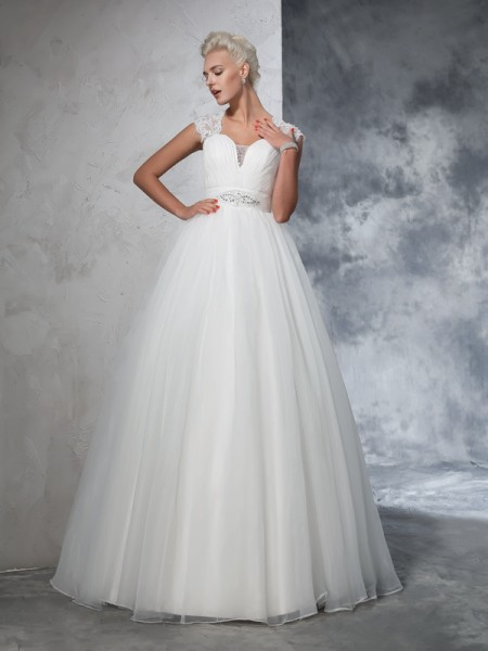 Ball Gown Sweetheart Ruched Long Tulle Wedding Dress