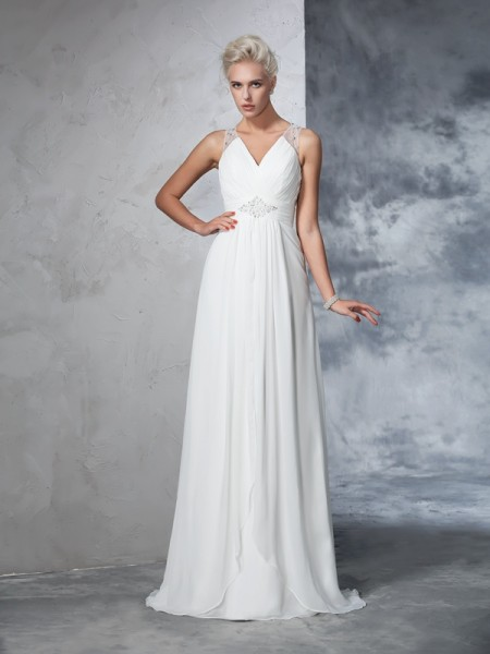 A-Line/Princess V-neck Ruched Chiffon Wedding Dress