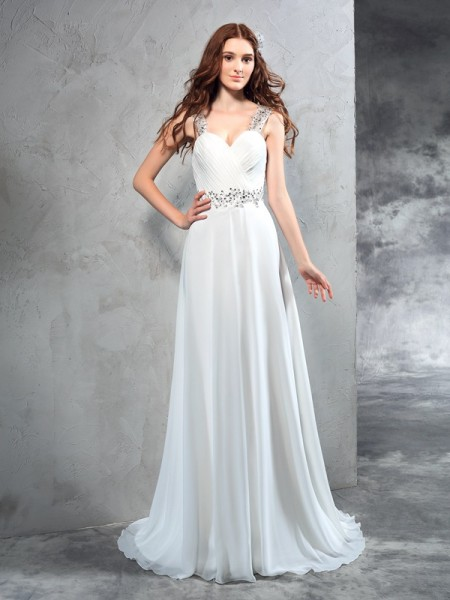 A-Line/Princess Sweetheart Pleats Chiffon Wedding Dress