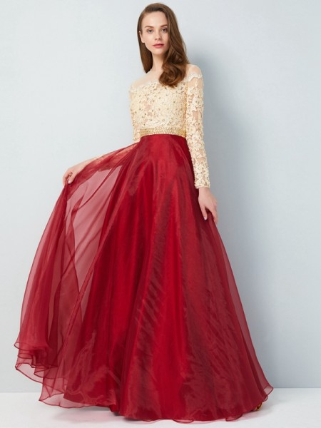A-Line/Princess Sheer Neck Floor-Length Long Sleeves Applique Organza Dress