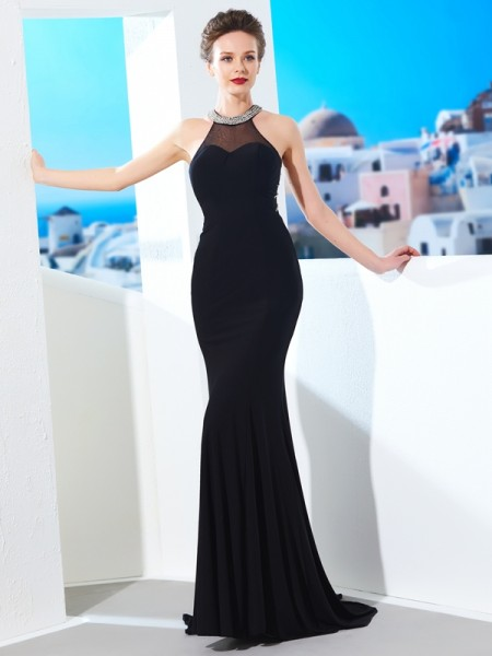Sheath/Column Jewel Spandex Sweep/Brush Train Dress