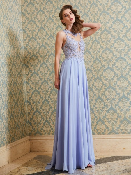 A-Line/Princess Scoop Floor-Length Applique Chiffon Dress