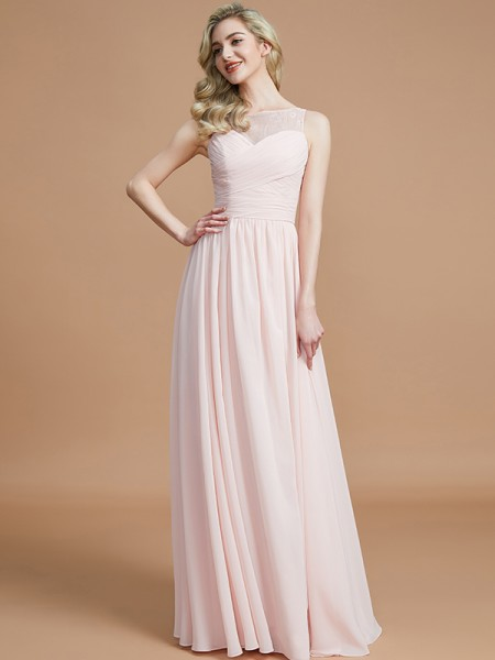 A-Line/Princess Bateau Ruched Floor-Length Chiffon Bridesmaid Dresses