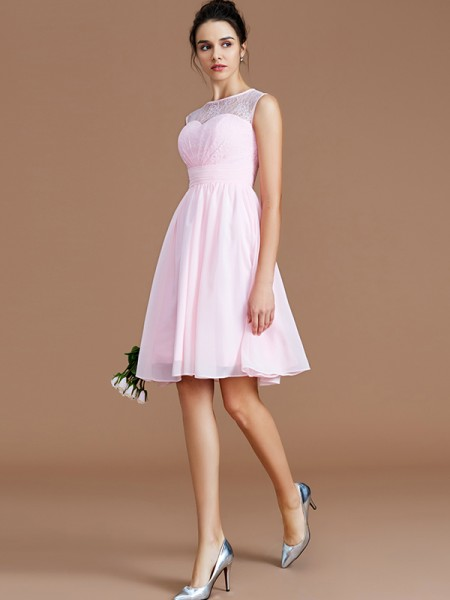 A-Line/Princess Sweetheart Lace Short/Mini Chiffon Bridesmaid Dresses
