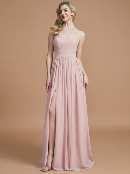 A-Line/Princess Spaghetti Straps Ruched Floor-Length Chiffon Bridesmaid Dresses