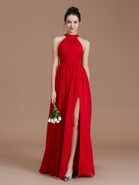 A-Line/Princess Halter Ruched Floor-Length Chiffon Bridesmaid Dresses
