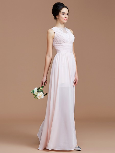 A-Line/Princess Jewel Ruched Floor-Length Chiffon Bridesmaid Dresses