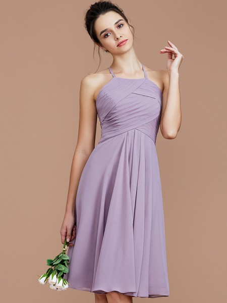 A-Line/Princess Halter Ruched Short/Mini Chiffon Bridesmaid Dresses