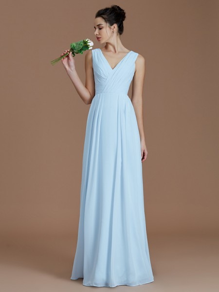 A-Line/Princess V-neck Ruched Floor-Length Chiffon Bridesmaid Dresses