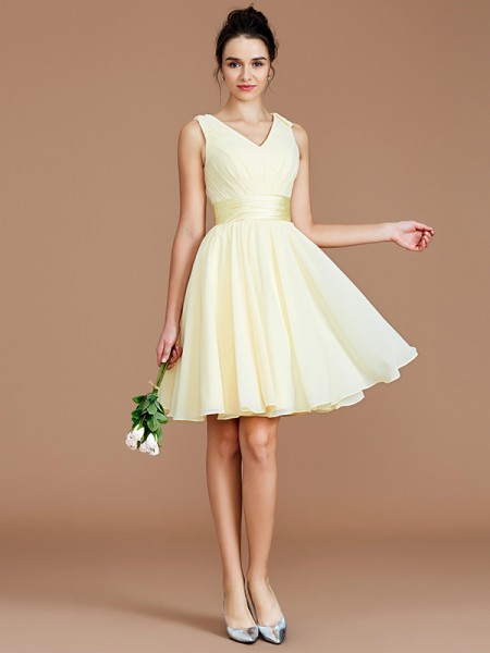 A-Line/Princess V-neck Sash/Ribbon/Belt Short/Mini Chiffon Bridesmaid Dresses